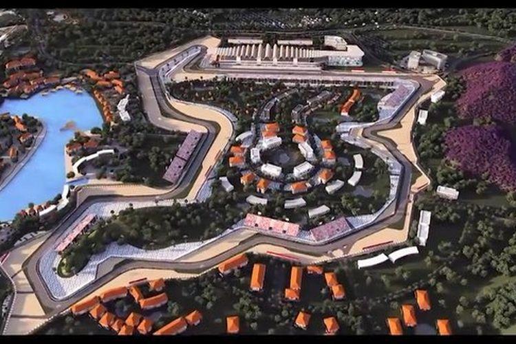 Ilustrasi layout sirkuit Mandalika di Lombok untuk tuan rumah MotoGP 2021.