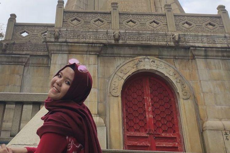 Arofatul Uqufah, alumni PP Nuris Antirogo yang kuliah di China berhasil pulang ke Jember