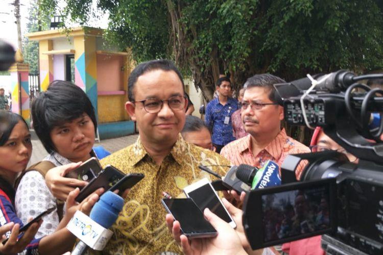 Gubernur DKI Jakarta Anies Baswedan di GOR Pasar Minggu, Jakarta Selatan, Jumat (22/2/2019).