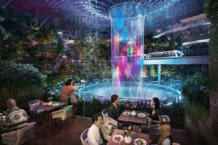 Rumah makan dengan taman di Jewel, Bandara Changi, SIngapura.