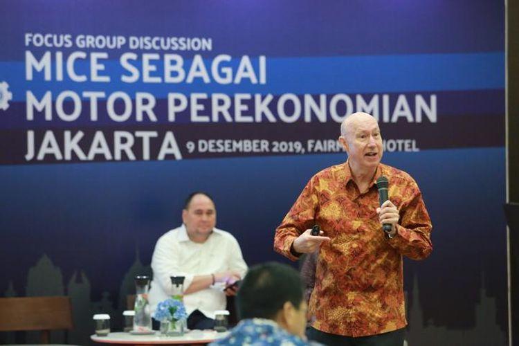 Professor David Hinds dalam acara Focus Group Discussion MICE Sebagai Motor Perekonomian Jakarta yang digelar pada Senin (9/12/2019)