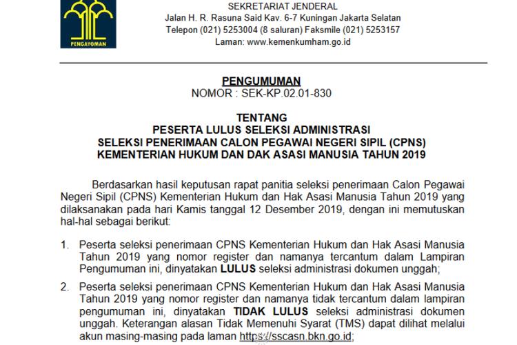 Tangkapan layar dari pengumuman hasil seleksi administrasi CPNS 2019 Kemenkumham.