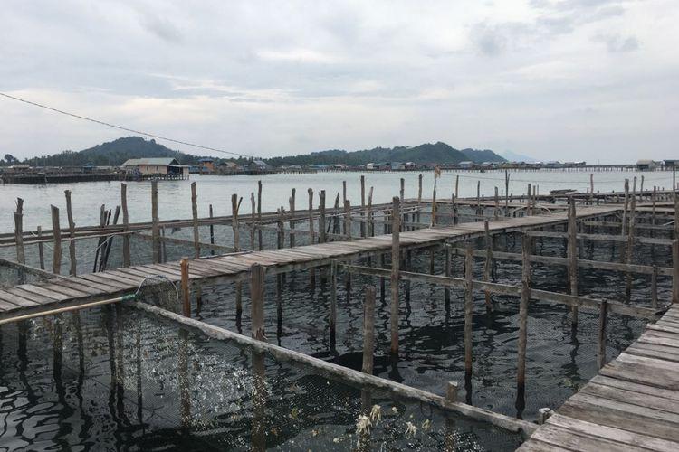 Keramba ikan napoleon di Bunguran, Natuna, Kepulauan Riau. Gambar diambil pada Kamis (19/10/2017).