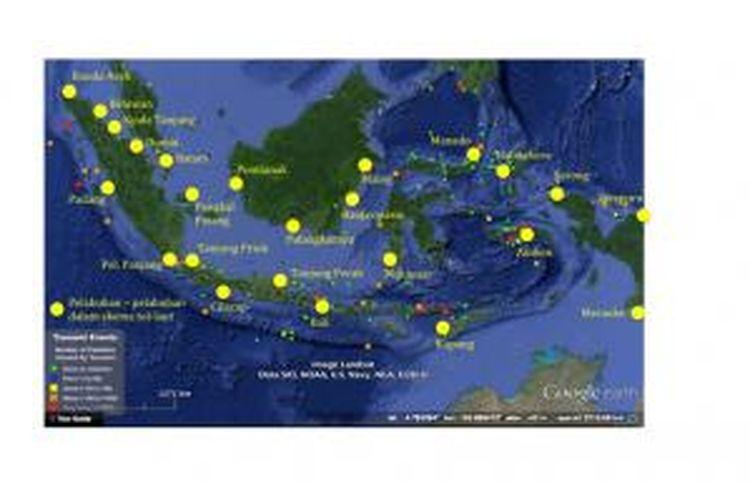 Posisi pelabuhan dalam skema tol laut terhadap catatan sejarah kejadian tsunami di Indonesia.