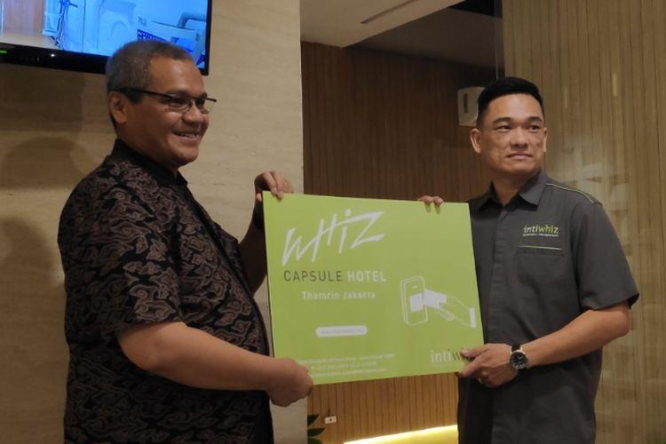 Pembukaan Whiz Capsule, Hotel Kapsul dari Intiwhiz Hospitality Management dibuka di Jakarta, Kamis (5/4/2019).