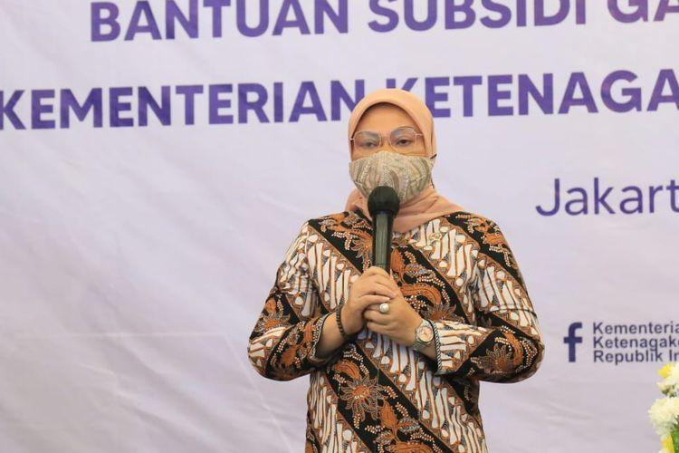 Menteri Ketenagakerjaan (Menaker) Ida Fauziyah dalam Konferensi Pers Bantuan Subsidi Gaji atau Upah (BSU) pada Jumat (30/7/2021).