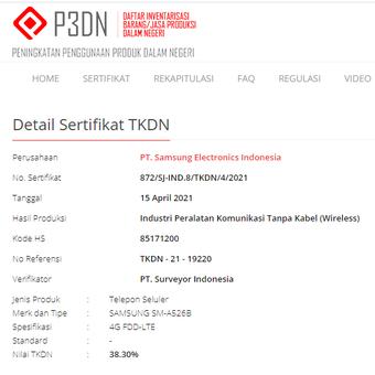 Tangkapan layar sertifikasi Samsung Galaxy A52 5G di situs TKDN.