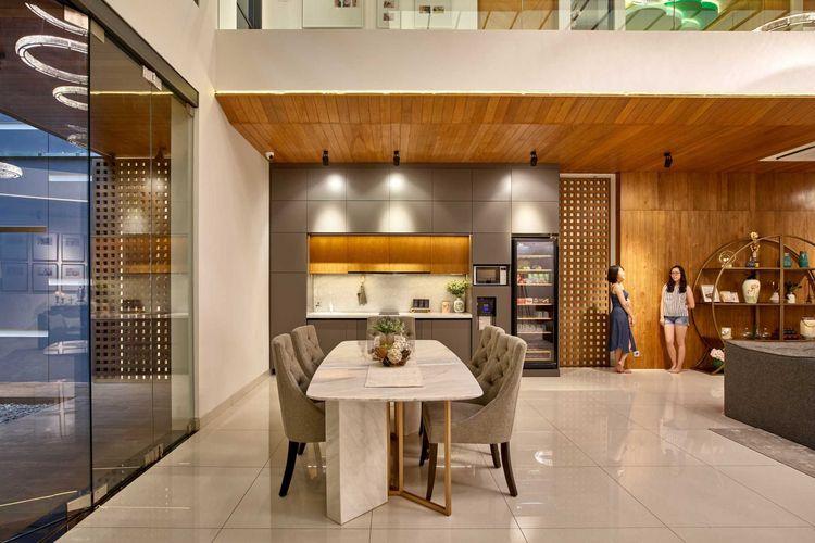 Aplikasi desain eklektik ke dalam ruang berkonsep open-plan