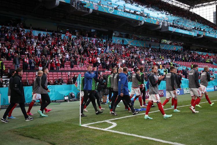 Suasana Stadion Parken, Kopenhagen, venue Euro 2020 yang menggelar laga Denmark vs Finlandia. Laga ini sempat ditangguhkan karena kondisi yang menimpa Christian Eriksen.