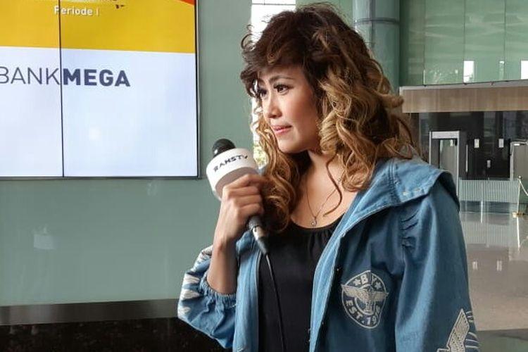 Pinkan Mambo saat ditemui usai tampil di salah satu acara stasiun televisi swasta di kawasan Mampang, Jakarta Selatan, Jumat (26/10/2018).