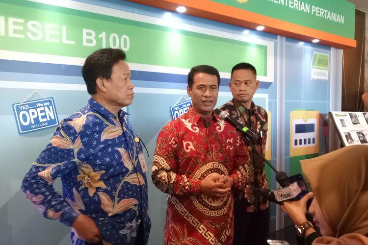 Menteri Pertanian (Mentan) Andi Amran Sulaiman usai menghadari pembukaan Musyawarah Perencanaan Pembangunan Pertanian Nasional Tahun 2019 di IPB International Convention Center, Bogor, Selasa (18/6/2019).