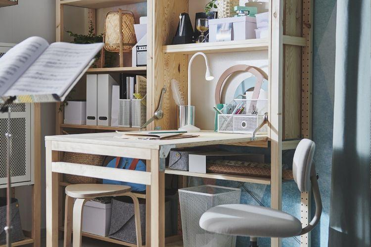 Ilustrasi meja lipat, meja lipat IVAR dari IKEA.