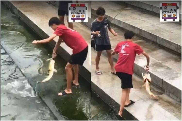 Dua remaja laki-laki terekam sedang memancing di kolam Taman Merlion, Singapura. (Facebook/Sure Boh Singapore). (Straits Times)