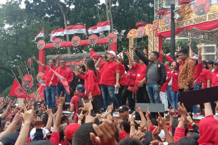 Kampanye akbar PDI-P di Parkir Timur Senayan, Jakarta Pusat, Minggu (31/3/2019).
