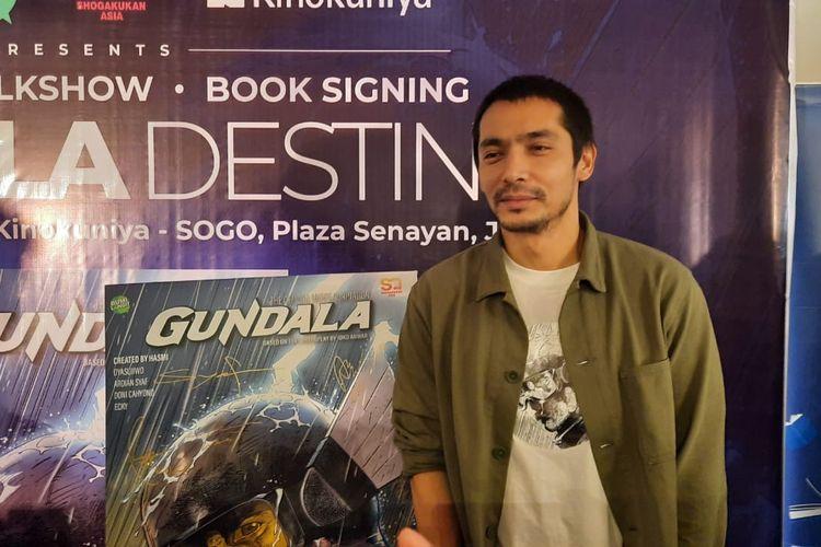 Abimana Aryasatya dalam jumpa pers komik Gundala di Plaza Senayan, Jakarta Pusat, Sabtu (1/2/2020).