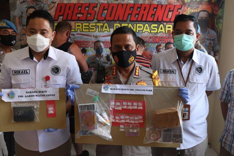 Polisi menangkap dua warga negara asing (WNA) yang mengedarkan narkotika di sekitar Jalan Dewi Sri, Seminyak, Kuta, Badung, Bali, Selasa (1/9/2020).