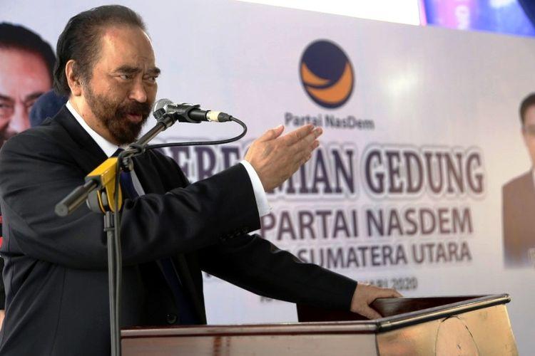 Ketua Umum Partai Nasdem Surya Paloh saat meresmikan kantor DPW Partai NasDem Sumut di Jalan Prof HM Yamin Nomor 41 Kota Medan, Kamis (20/2/2020)