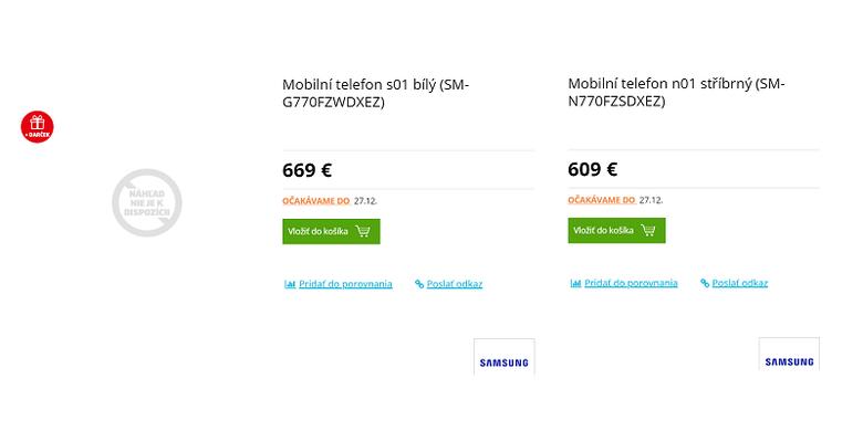 Sebuah retail online di Slovakia memajangharga Galaxy Note 10 Lite (kanan) dan Galaxy S10 Lite (kiri).