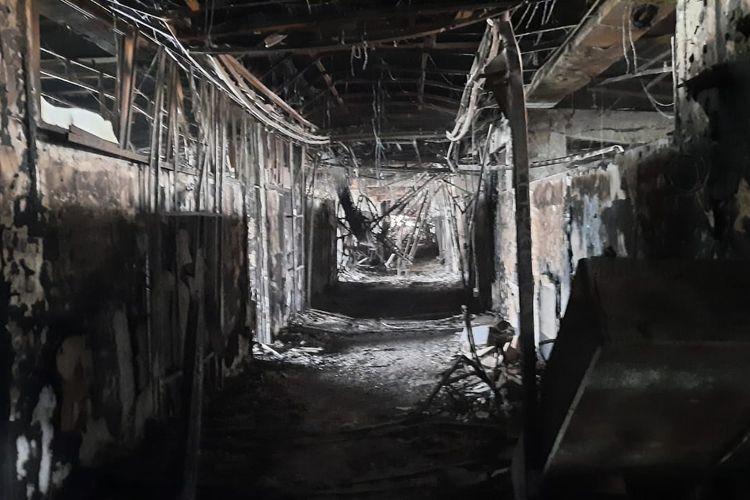 Kondisi lantai 5 Gedung Kejaksaan Agung, Kebayoran Baru, Jakarta pasca terbakar pada Sabtu (22/8/2020) pukul 19.10 WIB.