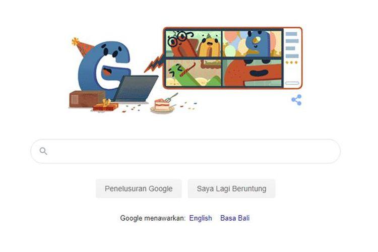 Tangkapan beranda Google memperlihatkan Google Doodles ulang tahun ke-22 dari Google