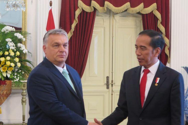 Presiden Jokowi menerima kunjungan kehormatan Perdana Menteri Hungaria Viktor Orban di Istana Merdeka, Jakarta, Kamis (23/1/2020).