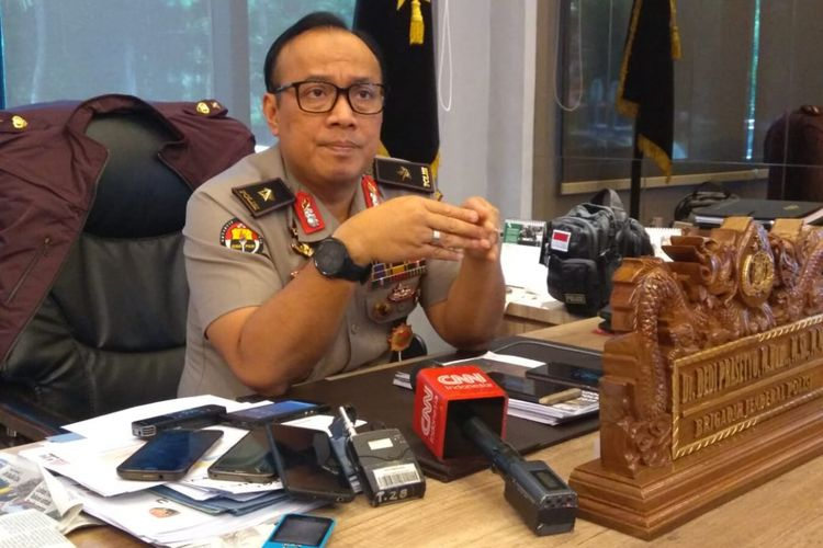 Kepala Biro Penerangan Masyarakat Humas Brigjen (pol) Dedi Prasetyo di Gedung Humas Mabes Polri, Jakarta, Selasa (5/3/2019).