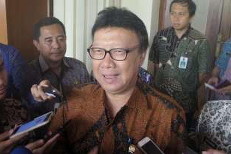 Menteri Dalam Negeri Tjahjo Kumolo saat ditemui di kantor Kemenko Polhukam, Kamis (25/8/2016).