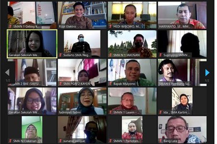 Webinar pendampingan Gerakan Sekolah Menyenangkan untuk Kepala Sekolah SMA wilayah Pati, Kudus, dan Rembang, Jawa Tengah pada 16 September 2020.