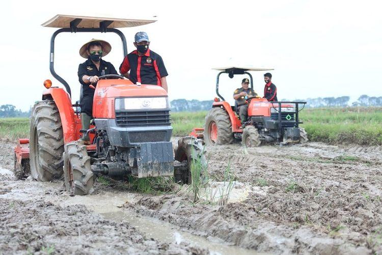 Petani di Kabupaten Manokwari, Papua Barat, saat menanam menggunakan mesin transplanter pada musim tanam kedua tahun ini.