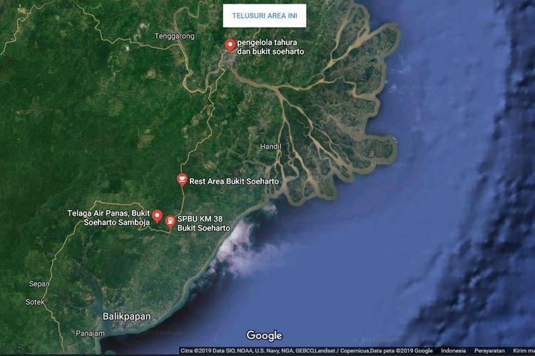 Kawasan Bukit Soeharto jika menelusuri melalui Google Maps