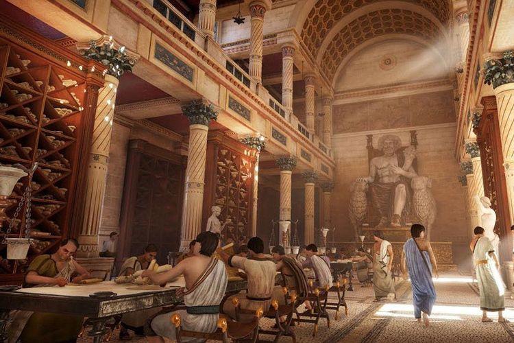 Ilustrasi Perpustakaan Alexandria.