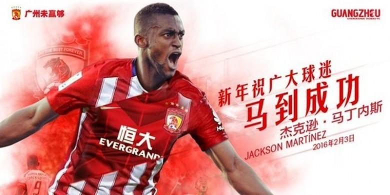 Jackson Martinez pindah dari Atletico Madrid ke Guangzhou Evergrande.