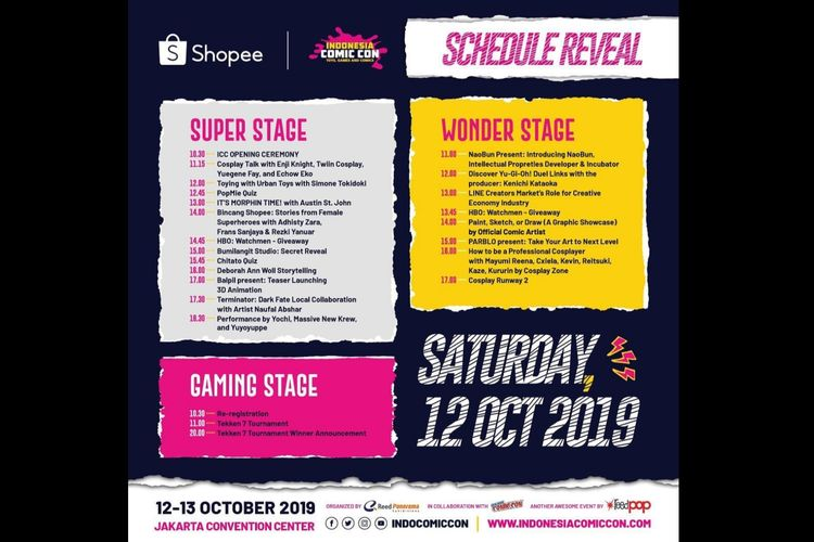Jadwal Shopee Indonesia Comic Con 2019