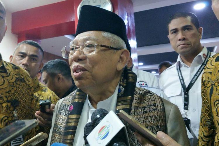 Calon wakil presiden nomor urut 01 Maruf Amin di Jalan Agus Salim, Rabu (6/2/2019).