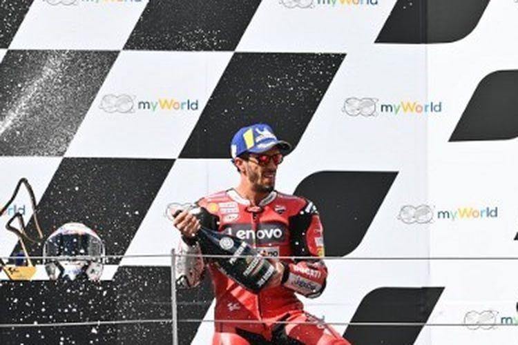 Pebalap Ducati, Andrea Dovizioso, tampil sebagai pemenang MotoGP Austria 2020.