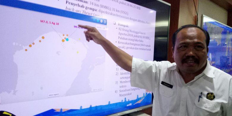 Kepala PVMBG Kasbani tengah menjelaskan gempa bumi yang terjadi di Lombok, NTB. Seperti diketahui gempa bermagnitudo 7 itu telah memakan puluhan korban jiwa dan merusakan ratusan bangunan.