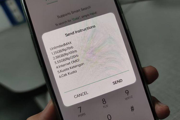 Ilustrasi cek kuota di smartphone.