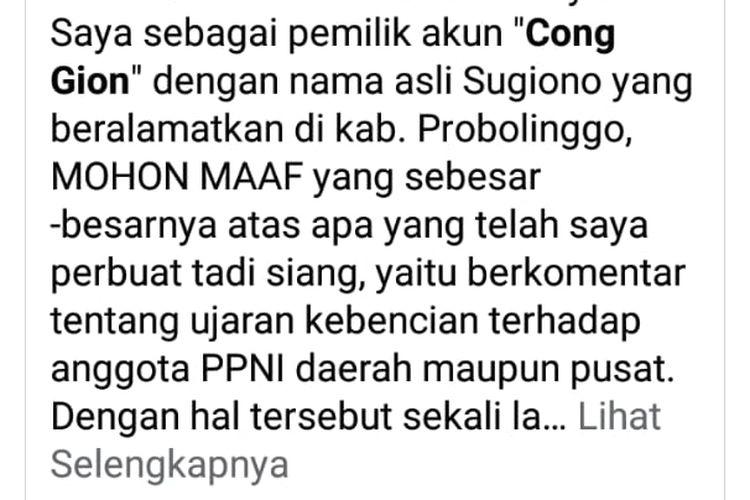 Capture postingan netizen yang meminta maaf bersama postingan yang membuatnya dilaporkan ke polisi.