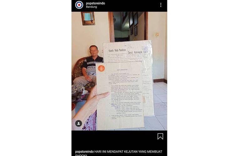 Tangkapan layar postingan surat nikah dan surat cerai Ir Soekarno