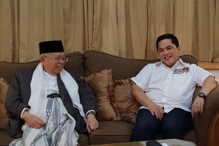 Bos Mahaka Group, Erick Thohir saat berada di Media Center Tim Kampanye Joko Widodo- Maruf Amin di Jalan Cemara (Posko Cemara), Menteng, Jakarta, Jumat (7/9/2018).