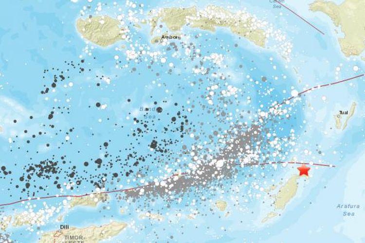 Rekaman kejadian gempa yang dicatat oleh USGS di wilayah Maluku dan sekitarnya.