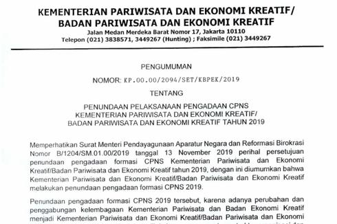 Selain Kemenpar, Ini Instansi yang Mengajukan Penundaan CPNS 2019