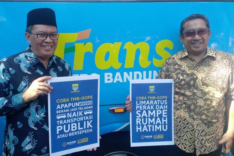 Wali Kota Bandung Oded M Danial dan Wakil Wali Kota Bandung Yana Mulyana menghadiri kegiatan launching uji coba Naik TMB Bayar Gopek di Taman Cikapayang, Kota Bandung Jumat (28/9/2018).
