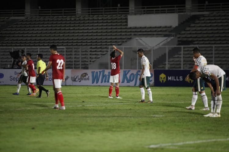 Pemain Timnas U22 Indonesia, Kadek Agung, merayakan gol pada laga uji coba kontra Tira Persikabo di Stadion Madya, Senayan, pada Jumat (5/3/2021).