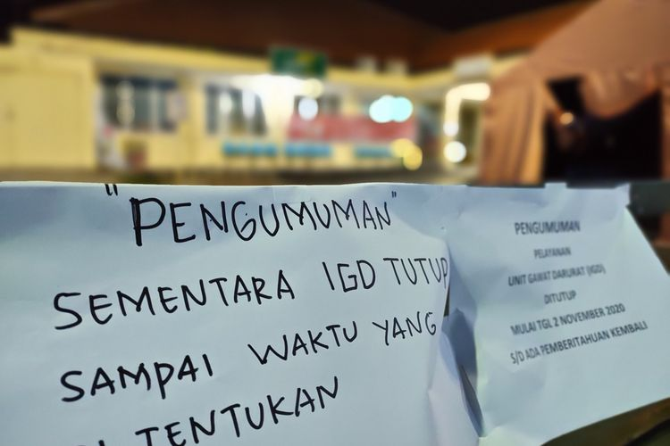 Ruangan IGD RSUD Soekardjo sempat ditutup pasca ditemukan tenaga kesehatan positif corona, Senin (2/11/2020).