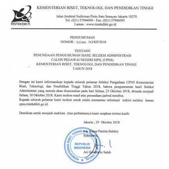 Surat resmi Kementerian Riset, Teknologi, dan Pendidikan Tinggi terkait penundaan pengumuman hasil administrasi