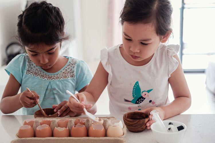Ilustrasi proses mengubah cangkang telur menjadi media tanam.