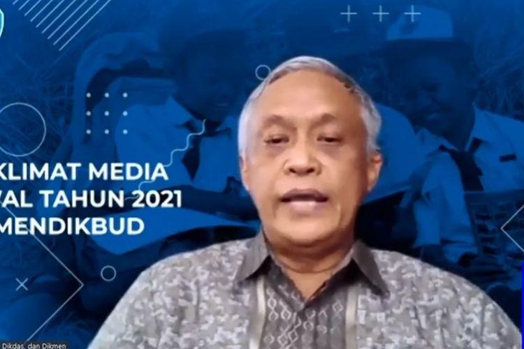Direktur Jenderal Pendidikan Anak Usia Dini (PAUD), Pendidikan Dasar, dan Pendidikan Menengah Kemendikbud, Jumeri dalam acara Taklimat Media Awal Tahun 2021.