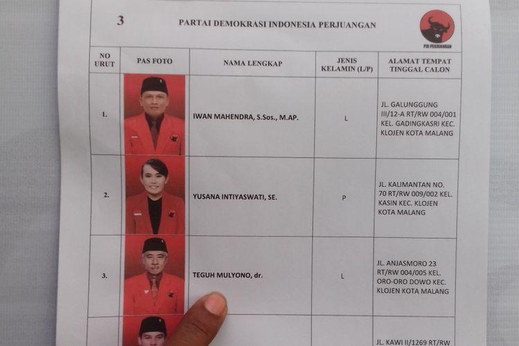 Nama Teguh Mulyono di dalam Daftar Calon Sementara (DCS) Pemilu Legislatif di KPU Kota Malang, Rabu (5/9/2018). Teguh saat ini ditahan KPK karena terlibat dalam korupsi massal di DPRD Kota Malang.
