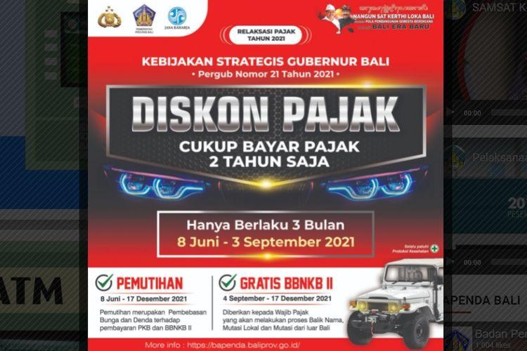 Pemerintah Provinsi Bali memberikan relaksasi pajak kendaraan bermotor